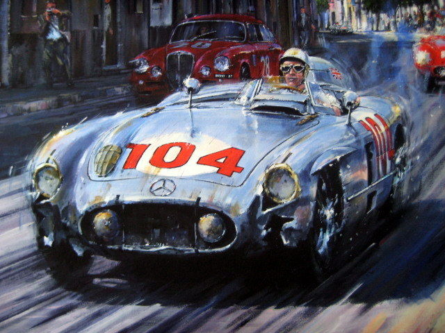 Zeldzame Raceprint - Mercedes-Benz 300 SLR/Moss-Collins winners Targa  - 1955 (1 items)