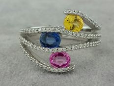 Ring in white gold set with 98 diamonds and 3-coloured genuine sapphires