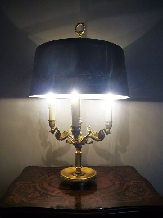 Bouillotte Lamp In Gilded Bronze, Empire Style, Maison Lucien Gau