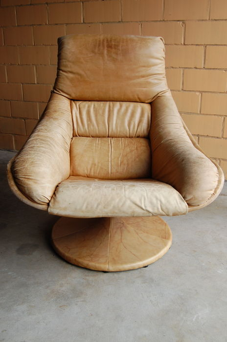 Surprising Unknown Designer Vintage Leather Swivel Armchair Catawiki Short Links Chair Design For Home Short Linksinfo