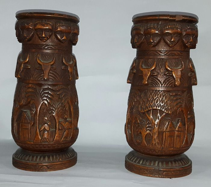 African Carved Wood Vases Catawiki