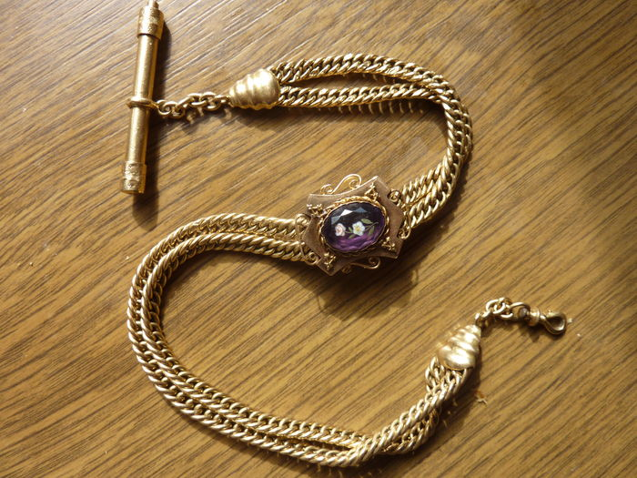 Superb and rare solid gold chain (chatelaine), 19th century, for pocket watches
