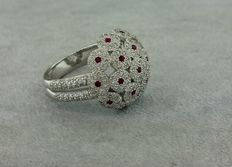 Cabochon ring in white gold set with 250 Diamonds and 22 Rubies