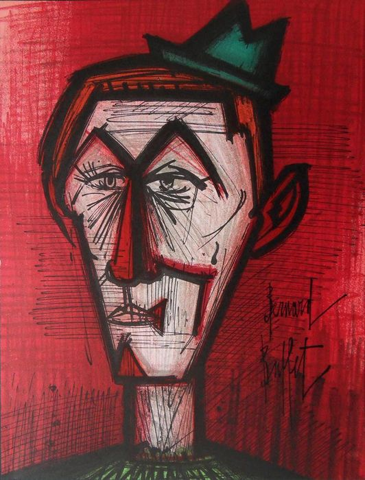 Bernard Buffet (1928-1999) - Le Clown au fond rouge