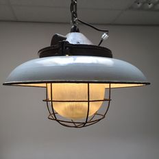 Designer unknown - cast iron,  industrial factory light with loose enamel shade.
