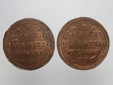 Papal State - lot of 2 Sampietrino coins of 2.5 Baiochhi - 1796 - Viterbo and Rome