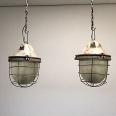 Unknown designer - Bold cast iron industrial cage light / factory light (2 x)