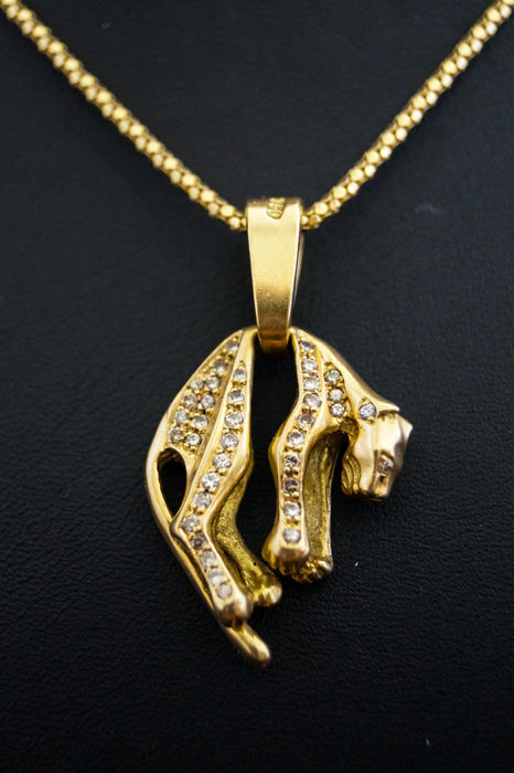 panther item solid yellow grams oz cb pendant full gold