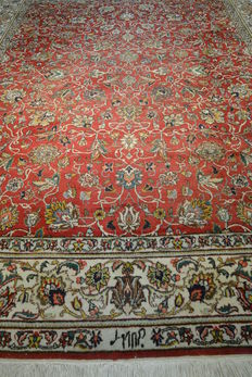 Elegant hand knotted Persian carpet with signature, Maralani Bagherzadeh, masterpiece, 329 x 242 cm End of the 20th century