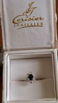 Ring set with a sapphire and 8 diamonds