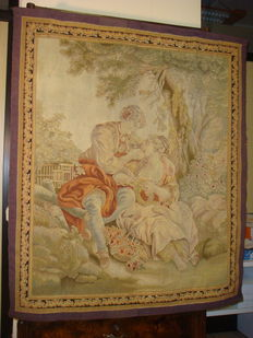 The Bird Catcher - A Beauvais pastoral tapestry from the series La Noble Pastoral after François Boucher - France - early 19th century