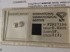 Natural diamond – IGI – I/IF – 0.82 ct – brilliant cut – very good investment