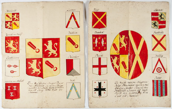 genealogy two large leaves with hand drawn family coats of arms of the 17th