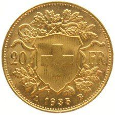 "Switzerland – 20 francs 1935, ""Vreneli"" – gold"