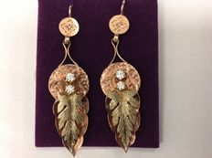 Earrings from Victorian times, 14 kt gold  and diamonds