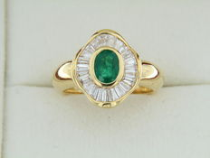 "Jeweller ring in ""skirt"" shape with an emerald with diamond entourage - Size: 54."
