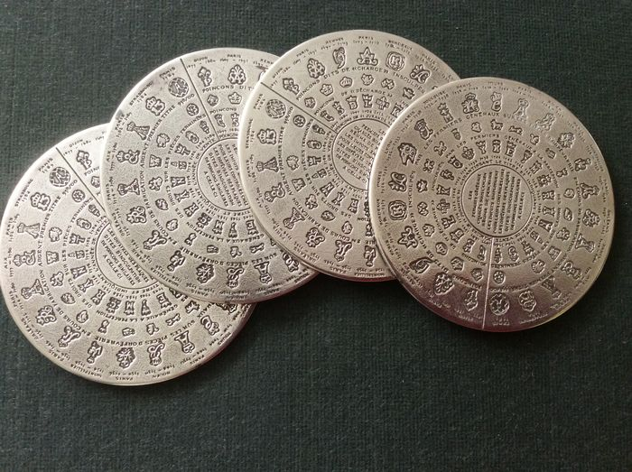 Four silver plated coasters in original box, silver hallmarks