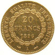 France– 20 francs 1896A, Genius – gold.