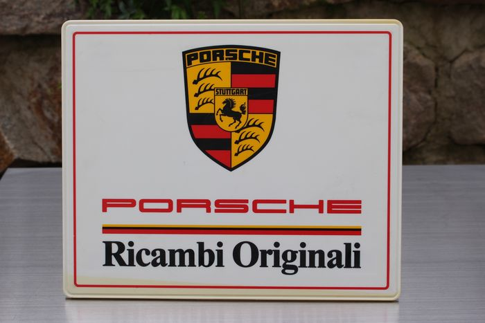 Vintage Porsche Ricambi Originali Plate X Cm Advertising - Vintage porsche dealer
