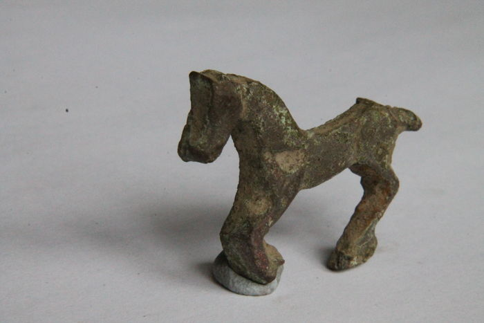 Ancient Medieval Periud Bronze Applique Depicting Horse - 36x25 mm