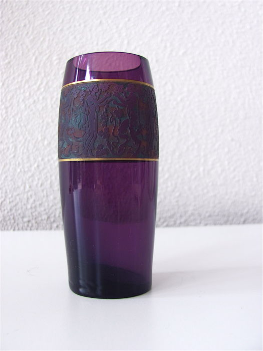 Ludwig Moser Shne Purple Glass Vase With Etched Decor Border