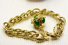 18 kt gold bracelet from the 1950s with 18 kt gold pendant and 5 chalcedony stones