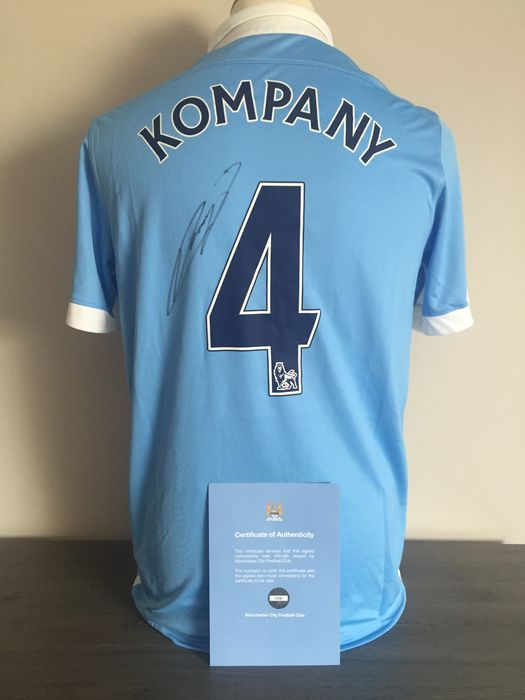 official photos 0ba6e b95cb Vincent Kompany - Hand signed Manchester City home shirt ...