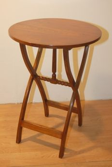 A small, probably walnut, folding occasional table - Italy - late 19th/early 20th century