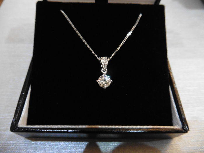 Platinum Diamond-set Pendant and Chain - 0.75ct, I, SI2 (centre) G, VS