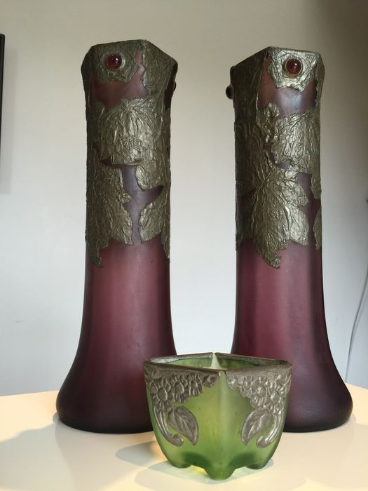 Two Large Vases And A Smaller One In Opaque Purple And Green Glass