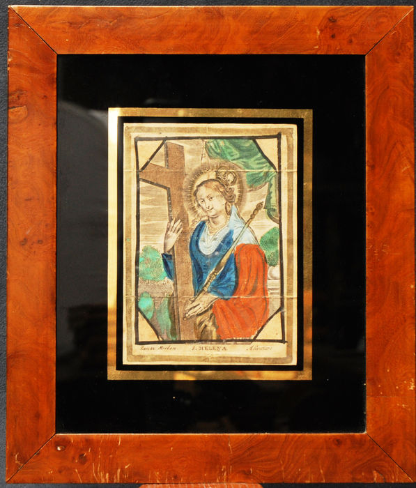 18th century original colored engraving of Saint Helena in a mahagony frame.