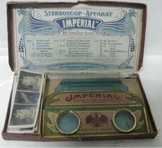 Tin folding stereoscope set  D.R.G.M. Imperial Chocolates-1905