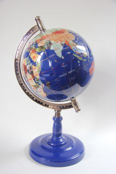 Precious Globe made of Lapis Lazuli and 45 other Semi-precious stones - 420 mm - 3.8 kg