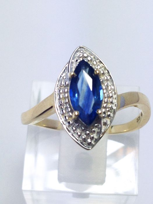 husband fine simple diamond natural men design jewelry ring for wedding genuine in from gemstone s white item rings blue real gold sapphire