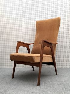 Fabrikant onbekend - vintage lounge fauteuil in bruine ribstof