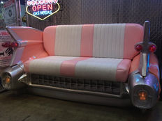 Cadillac - handmade sofa with lights - with leather -  195 x 112 x 115 cm