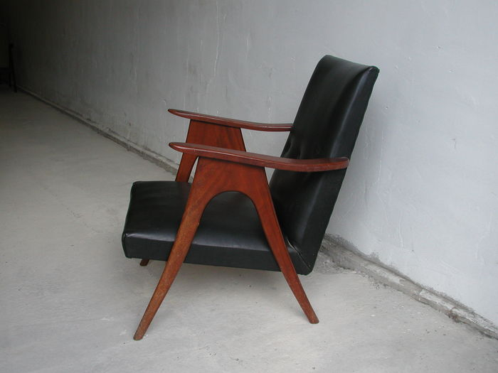 Teak And Faux Leather Armchair