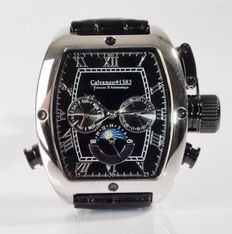 CALVANEO 1583 TONNEAU II PLATIN KALENDER – DAY AND NIGHT – MEN'S WRISTWATCH – NEVER WORN