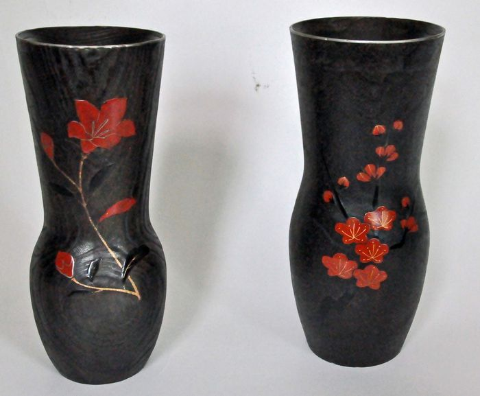Two Japanese Ikebana Vases Partly Lacquered Japan Mid 20th