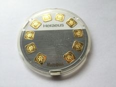 Heraeus MultiDisc 999 gold bar, fine gold 10 x 1 gram in dispenser, can be lifted individually