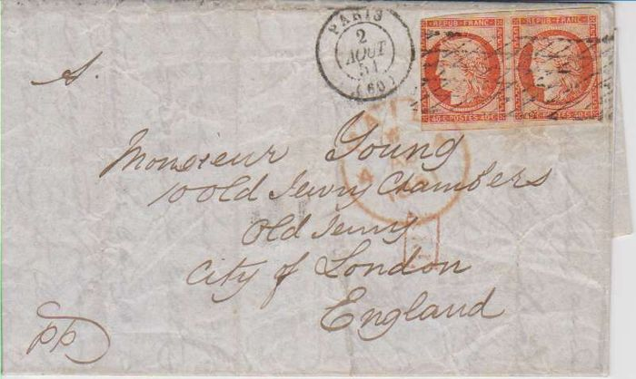 France 1851 Letter From Paris To London Cancellation Grid Without