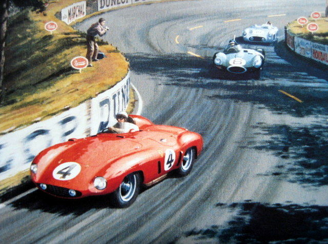 art lithograph ferrari challence le mans 1955 signed by the artist keith woodcock catawiki. Black Bedroom Furniture Sets. Home Design Ideas