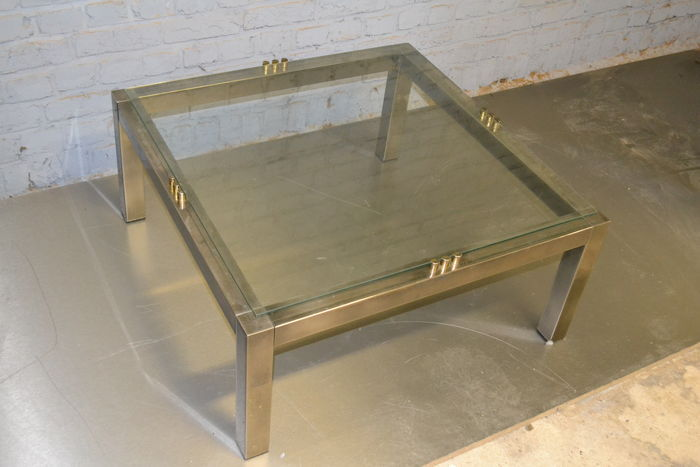 Salontafel Messing En Glas.Designer Onbekend Salontafel Messing Met Glas Catawiki