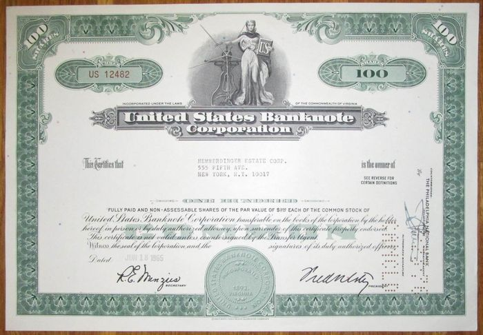 USA - United States Banknote Corporation - Share Certificate 1965 - famous American Bank Note company