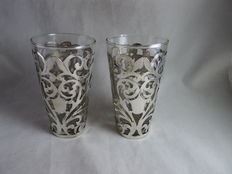 Two glasses in silver mounts, Mexico, 1st half 20th century