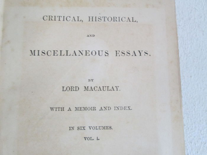 essays and poems macaulay Critical and historical essays, contributed to the edinburgh review by lord macaulay and a great selection of similar used, new and collectible books available now at abebookscouk.