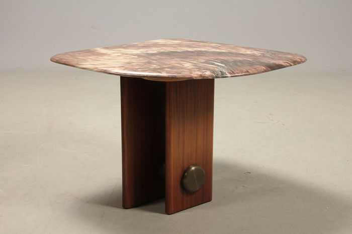 Bendixen Design   Unique Custom Made Small Coffee Table With A Marble Top.