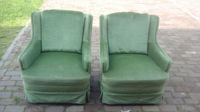 A Couple Of French Armchairs With Green Velvet Upholstery