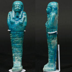Egyptische faience Ushabti with seven lines   horizontal lijnen text - 186 mm