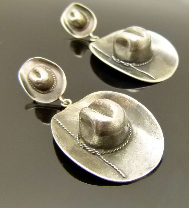 Vintage huge solid 925 first grade silver three dimensional cowboy hat  earrings 96634865757d